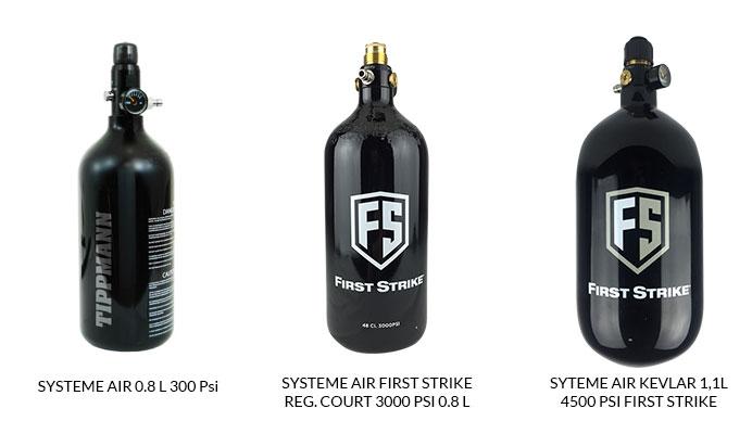Choisissez votre bouteille d'air comprimé de paintball