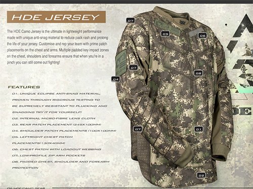 Details des innovations techniques du jersey planet eclipse HDE Camo