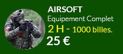 equipement complet airsoft + 1000 billes sur notre terrain de paris