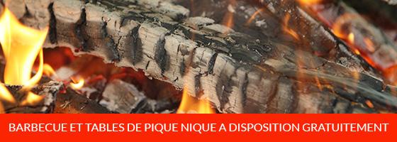 Acces aux tables de pique nique et barbecue gratuit