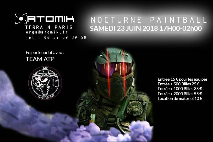 La nocturne paintball aura lieu le 24 juin sur notre terrain de Paris